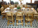 Rustic Blue Pine Dining Set. Return Swivel Chairs.