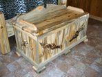 Blue Pine Hope Chest with Lodge Pole Burl Accents
