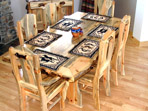 Blue Pine Dining Table with 6 Chairs