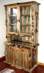 Blue Pine Hutch with Lodge Pole Burl Accents