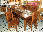 Lone Star Pine Table & Chairs - Dark Walnut Stain - Any Length or Width Available Upon Request
